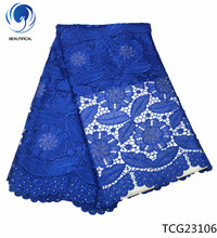 Beautifical blue guipure lace cupion nigerian fabric 2018 high quality with stones flower pattern 5yards 4G231