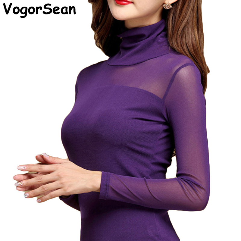 Women Mesh Elastic Blouse Shirt Autumn Winter Casual Tops And Blouses Turtleneck Long Sleeve Slim Plus Size New Sexy Stretch