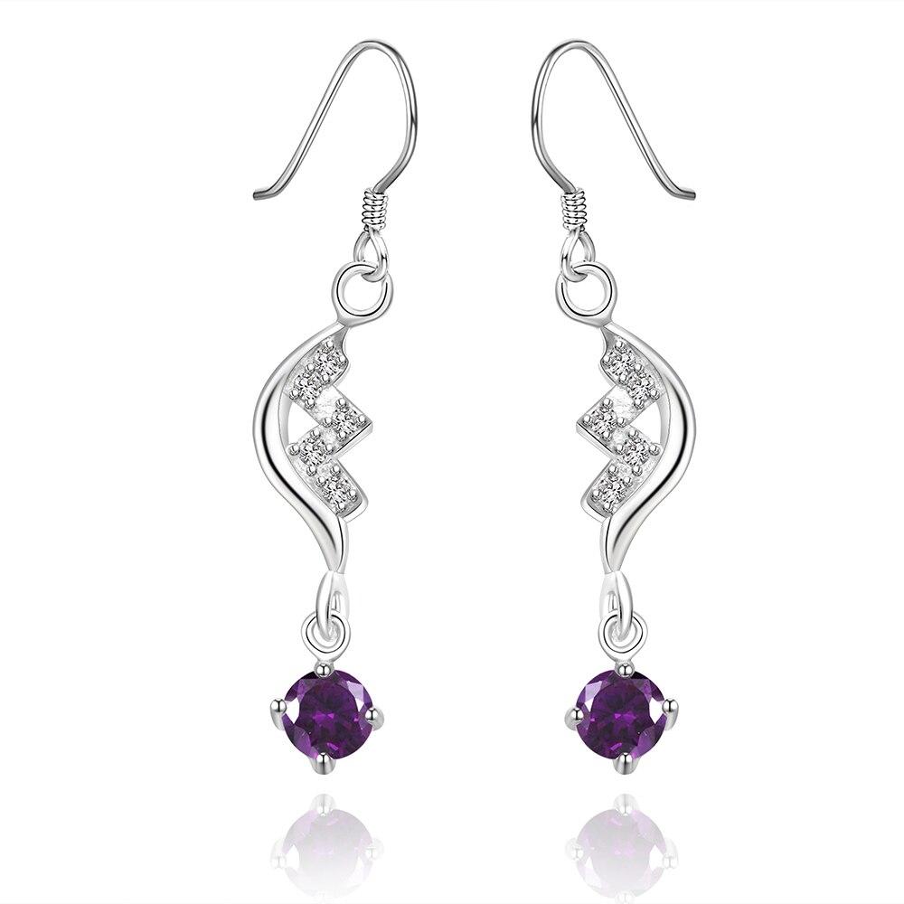 925 prata esterlina brincos gota redonda pequena ligação pulseira pedra de cristal roxo brinco gancho brinco para as mulheres da moda jóias