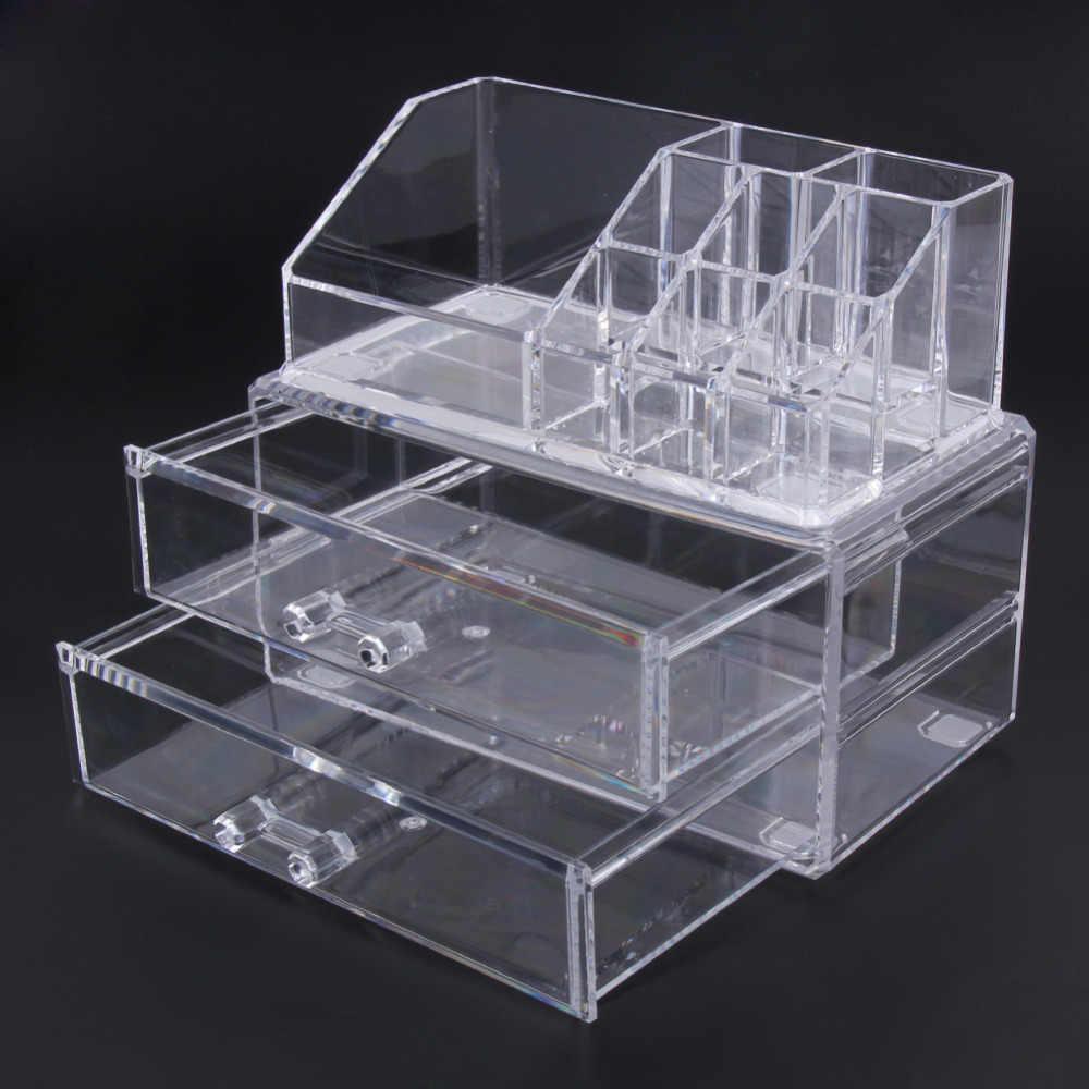 شفاف واضح طبقتين أدراج الاكريليك منظم أدوات التجميل درج حقيبة مستحضرات تجميل تخزين إدراج صندوق حامل شحن مجاني
