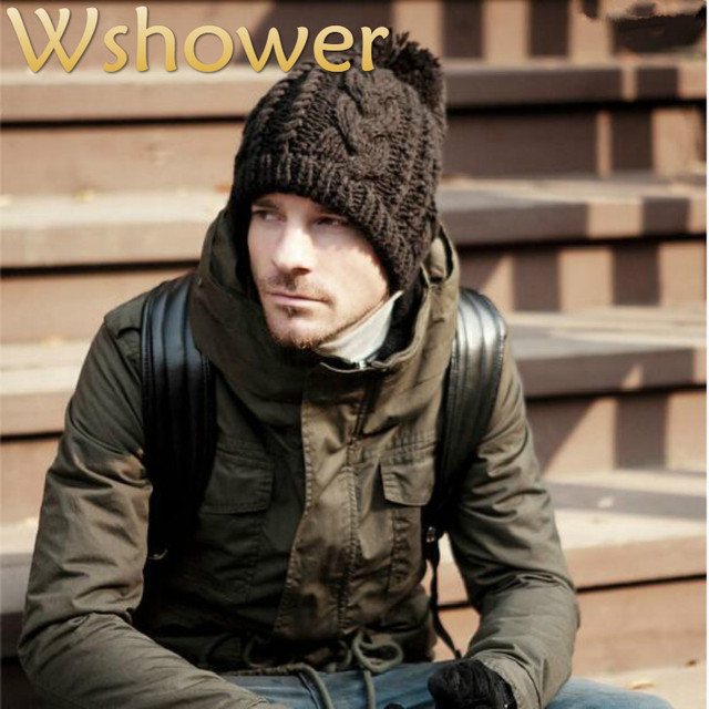 Which In Shower Adult Women Men Cable Wool Pom Pom Winter Hat