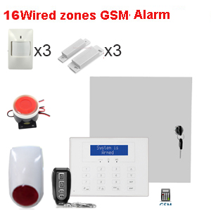 DIY security set wired Sim card alarm system 16 wired ...