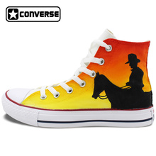 High Top Converse All Star Original Hand Painted Shoes Design West Cowboy Canvas Sneakers for Men Women