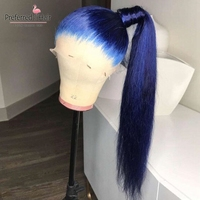 Preferred Straight Wig Glueless Brazilian Remy Hair Blue Human Hair Wig With Baby Hair Full Lace Human Hair Wigs For Black Women