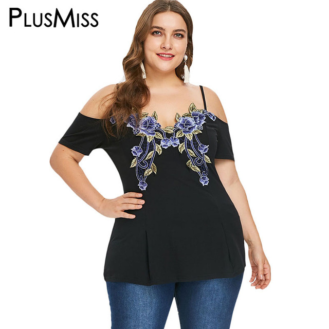 f77901ce41a PlusMiss Plus Size Sexy Floral Embroidered Spaghetti Strap Tunic Tops 5XL  XXXXL Women Boho Off Shoulder Blouse Ladies XXXL XXL