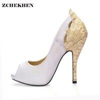 Femmes or argent bling conception de femmes mince haute talon pompes Paires semaine de la mode de Soirée De Mariage stiletto fleur chaussures 2665-s1
