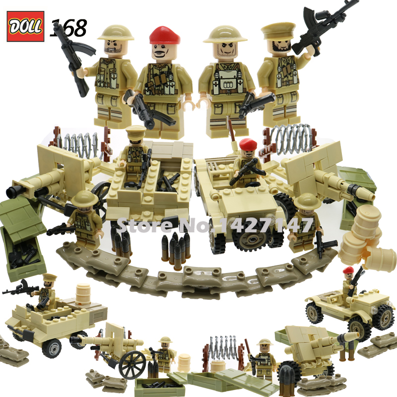 WW2 army soldiers military minifigures building bricks with weapons and guns enlighten blocks educational toys for children