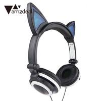 Creative Personality Cat Ears Headset Folding Flashing Headphones For PC Laptop