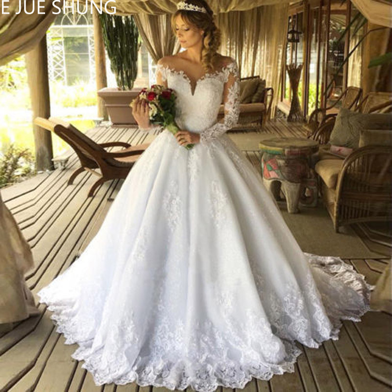 E JUE SHUNG White Vintage Lace Appliques Ball Gown Wedding Dresses Sheer Back Long Sleeves Wedding Gowns Robe De Mariee