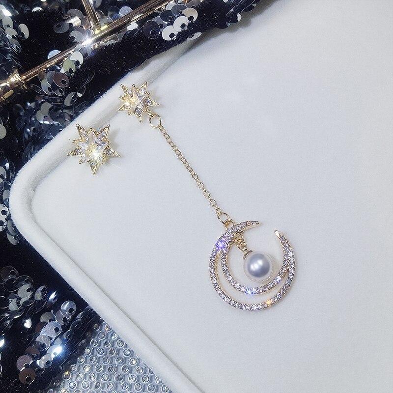 Crystal Vintage Star Women Dangle Earrings Asymmetric Star Girl With Long Earrings For Women Drops Earrings Tassel Earrings
