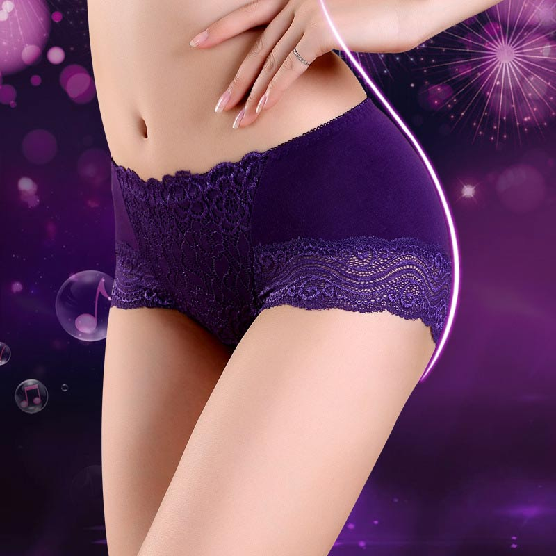 Simple Fashion Women Sexy Underpants High Waist Solid Color Lace Splice Breathable Ladies Knickers Lingerie Briefs FS99