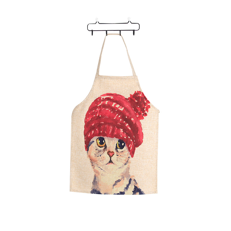 Linen Cute Cat Two Patterns Parent Child Aprons Funny Kitchen Clean Tool For Cooking Painting