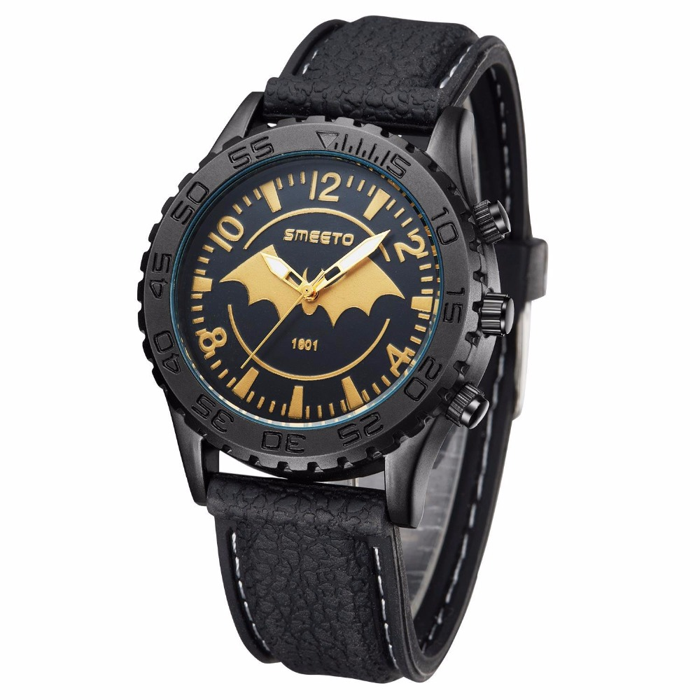 Prix pour Relogios Masculino batman De Mode Casual Hommes de Montres De Luxe Marque de Haute Qualité en caoutchouc Quartz Montre D'affaires Hommes Montre-Bracelet