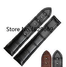 Lujo real cocodrilo 18 mm 20 mm negro marrón cuero de la venda de reloj de la correa para 431.33.41.21.03.001