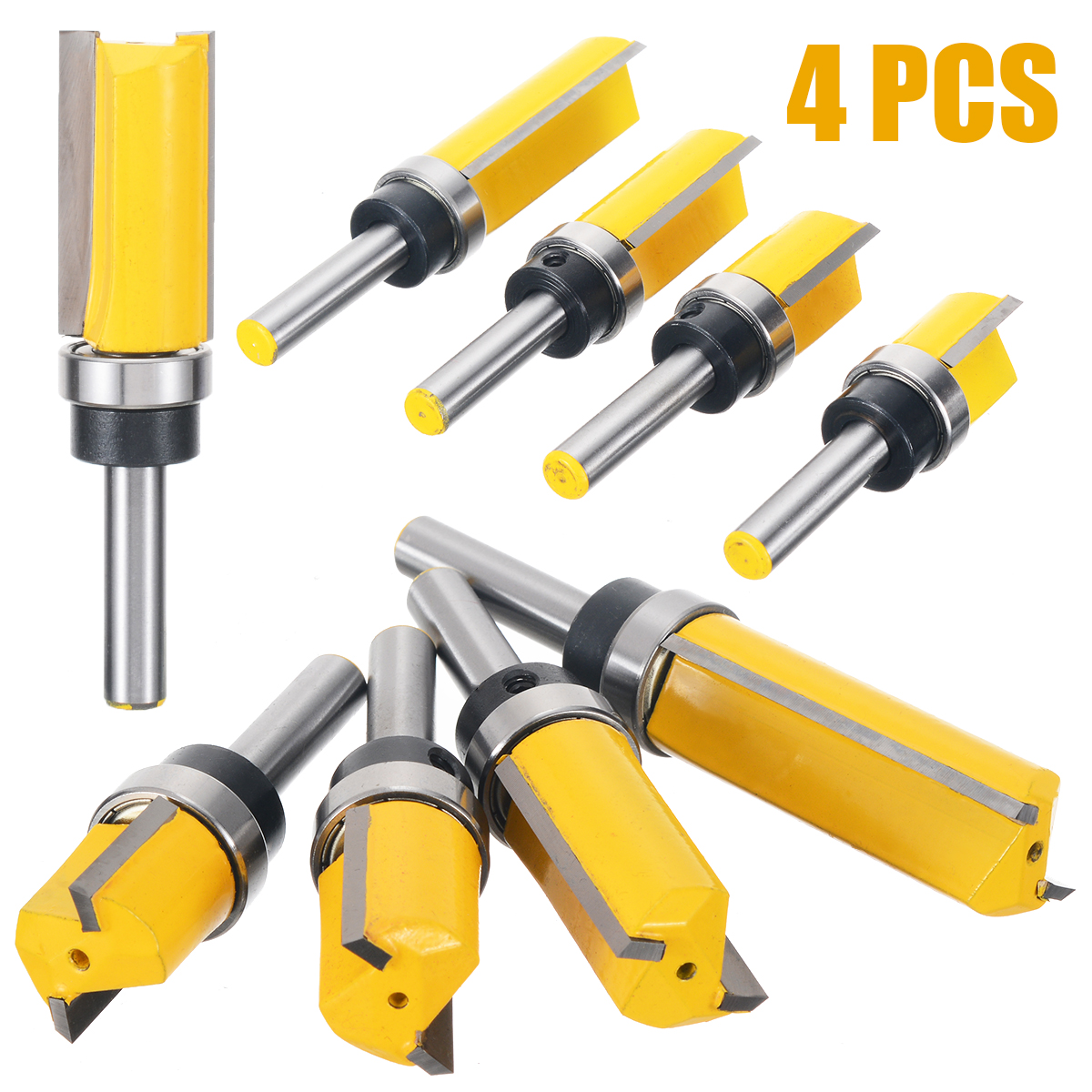 4Pcs/Set 8mm Length Flush Trim Pattern Router Bit Shank Panel Top Bottom Bearing Woodworking Milling Cutter