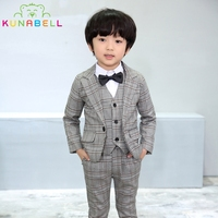 Brand Boys Formal Suits Wedding Tuxedo Birthday Party Jackets Vest Pants Gentleman Kids Children Blazer Costumes