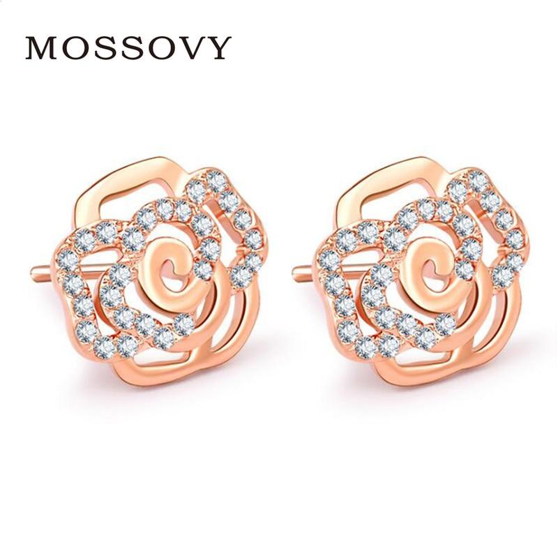 Mossovy trend rose Rhinestone stud earrings flower ear Ornaments Delicate  Zircon Earring Fashion Jewelry Bijoux gift fe52a8c34bf0