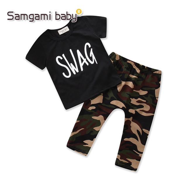 1ee859bfe SAMGAMI BABY Boys Clothes Summer Short Sleeve Cotton T-shirt Tops+camouflage  Pants Trousers