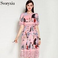 SVORYXIU 2017 Summer Runway Designer Pink Dress Women S High Quality Short Sleeves Animal Printing Casual