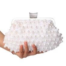 hot deal buy 2018 new women evening bags lady evening clutch bags wedding bridal handbag pearl beaded lace rose fashion rhinestone bags