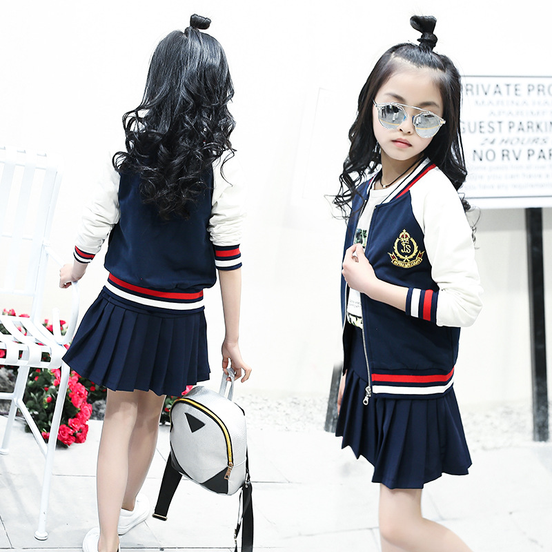 Spring 2017 Children's Clothing School Uniform Coat with Skirt 2pcs Suit Baby Girl formal Clothes Set Girls Preppy Style Costume