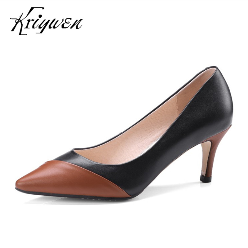 Kriywen Woman Spring PUMPS Slip On Fashion Woman Office Shoes Stilettos Thin High Heels Pointed toe Lady Pumps Plus Size 32-43 egonery spring air slip on round toe square low heels office women shoes pumps woman shoe plus size 40 43