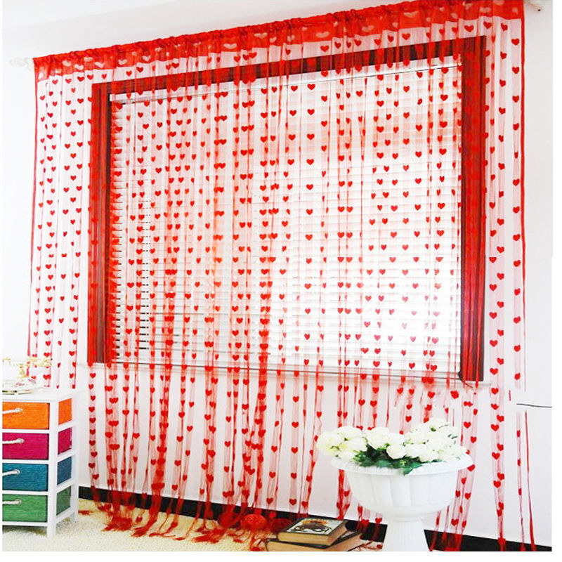 Romantic Heart Shaped window embroidered curtain blinds sheer ...