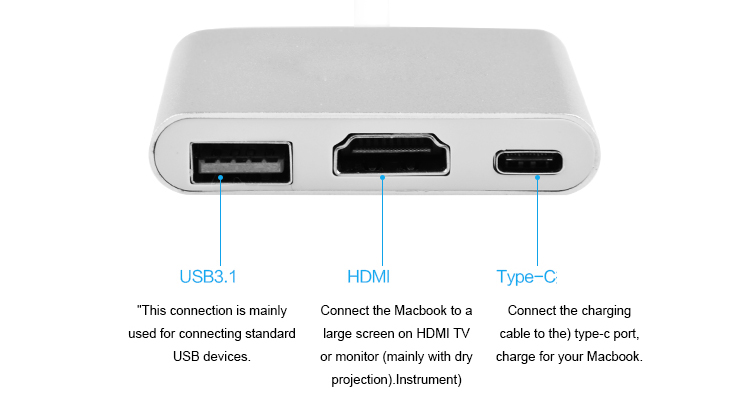 4 3-in-1 Aluminum USB 3.1 Type C to 4K2K HDMI USB 3.0 TypeC Adapter Type-C Adapter Converter Cable for Apple Macbook and Google