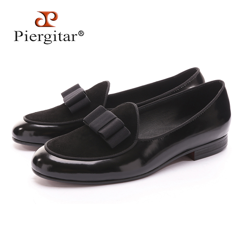 Five color Genuine Leather and Nubuck Leather stitching with Bowtie men handmade luxurious flats Men's banquet classic loafers leisure men s loafers with hollow out and stitching design