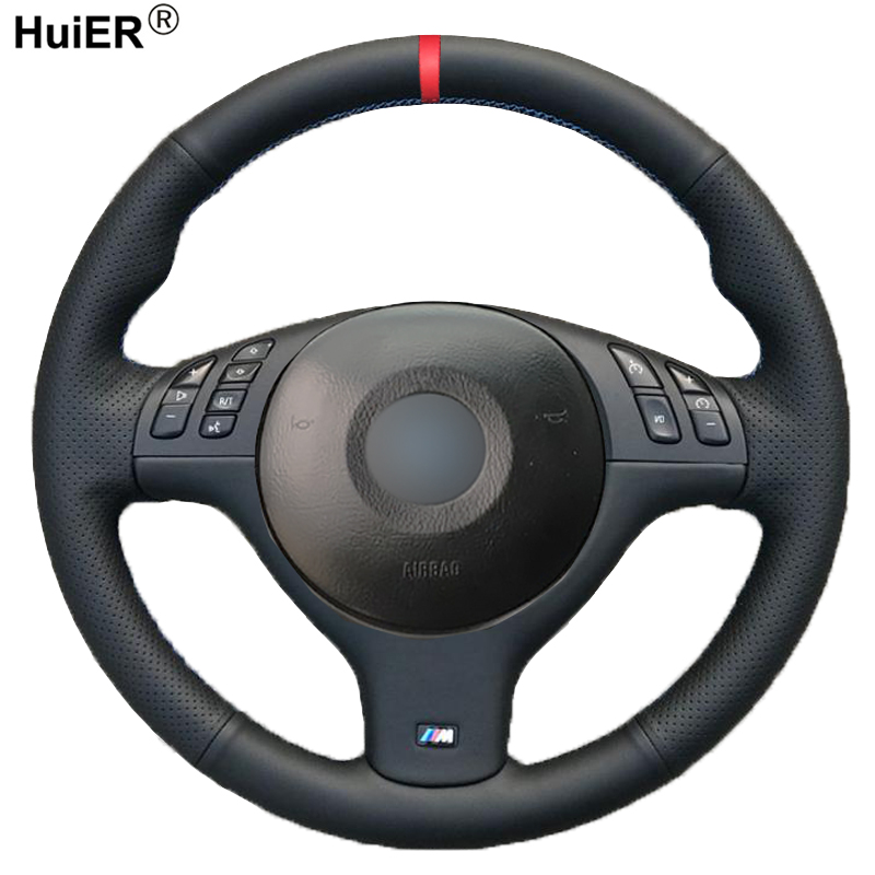 HuiER Hand Sewing Car Steering Wheel Cover For BMW E46 E39 330i 540i 525i 530i 330Ci M3 2001 2002 2003 Braid Car Accessories