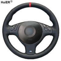 HuiER Hand Sewing Car Steering Wheel Cover For BMW E46 E39 330i 540i 525i 530i 330Ci M3 2001 2002 2003 Braid Car Accessories