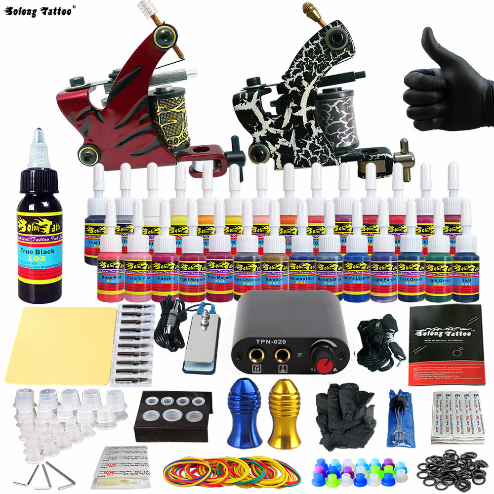 Solong Tattoo 2018 New Complete Beginner Tattoo Kit Machine Guns Inks Needles Tattoo Power Supply TK204-38 solong tattoo beginner tattoo kit with 1 machine guns power supply 4pcs round tips 6pcs flat tips and needles inks grip