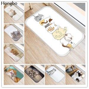 Hongbo Kawaii Welcome Floor Mats Animal Cat Printed Bathroom Kitchen Carpets Doormats Cat Floor Mat for Living Room Anti-Slip(China)