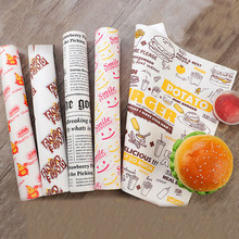 100 pcs Oil-proof wax paper for food wrapper paper Bread Sandwich Burger Fries Wrapping Baking Tools fast food customized supply 100 pcs 24 5x35cm disposable paper tray mats pad wax paper for food wrapping for restaurant bread customized supplier
