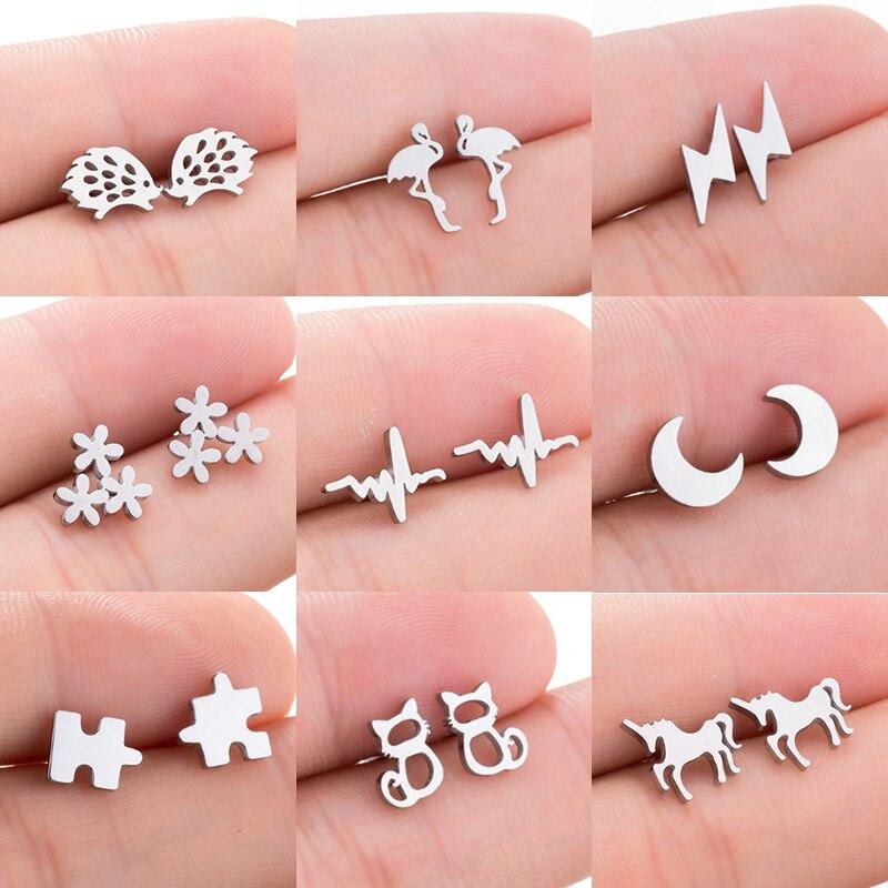 Jisensp Vintage Black Stainless Steel Earrings Jewelry For Women Cute Black Geometric Earing Animal Stud Earrings Girls Gift