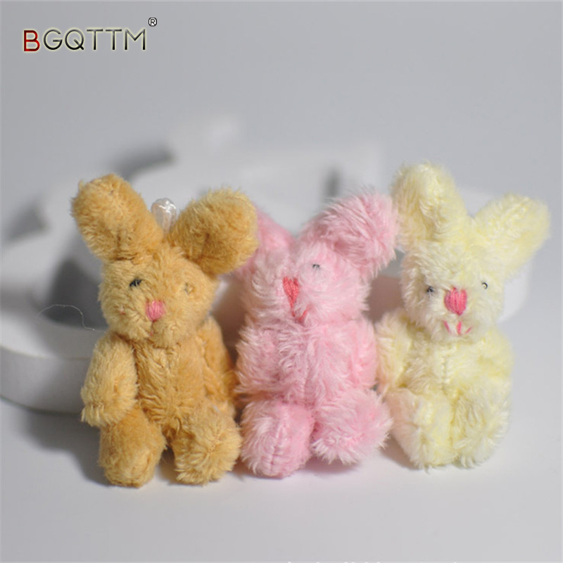 5Pcs/Set Cute Soft Mini Joint Rabbit Pendant Plush Bunny For Key Chain Bouquet Toy Doll DIY Ornaments Gifts Random Color цена