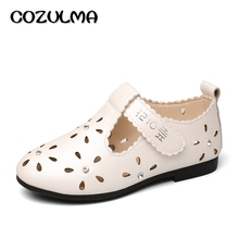 COZULMA Spring Summer Girls Shoes Kids PU Leather Cut-outs Sandals Baby Girls Rhinestone Princess Party Shoes Children Sneakers
