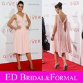 Katie  at Giver New York Premier Red Carpet Gown Tea Length Chiffon Pink Celebrity Short Cocktail Party Dress