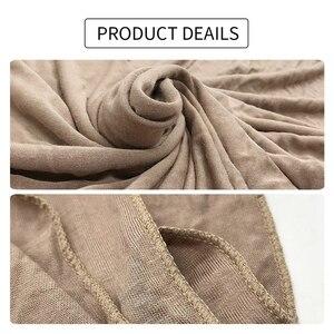 Image 5 - 저지 스카프 여성 솔리드 컬러 탄력 면화 Shawls 우아한 겸손 이슬람 Hijab 스카프 대형 양질 스카프 목도리