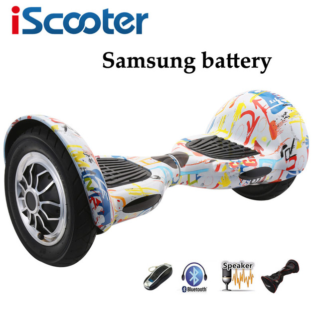 Iscooter 10 дюймов hoverbaord Samsung батареи Электрический балансируя Скутер для взрослых детей скейтборд 10 колес 700 Вт ХОВЕРБОРДА