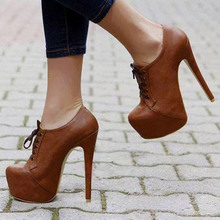 GOOFLORON NEW Women's high heels, 16cm fashion sexy camel heels, shoes, instep lacing over heels