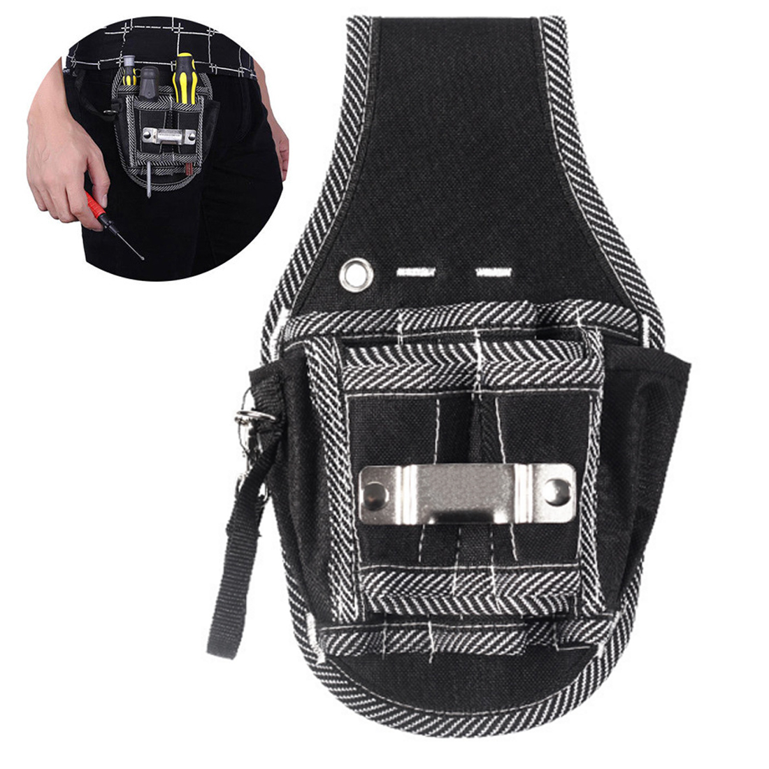 Electric Drill Pocket Tool Bag With Belt 9 In 1 Screwdriver Utility Kit Holder 600D Nylon Fabric Tool Bag Electrician Kit