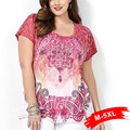 Женская Мода Большой Размер Коротким Рукавом Шею Цветочный Печати Свободные Повседневная Футболка 4Xl 5Xl