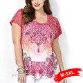 DE las mujeres de Moda de Gran Tamaño de Manga Corta Cuello Redondo Floral Impresión Floja Ocasional de La Camiseta 4Xl 5Xl