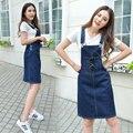 2017 de La Moda Coreana de Las Mujeres Overol Faldas Mujer Delgada Midi Jeans Faldas Mujer Faldas de La Liga de Algodón de Mezclilla Azul