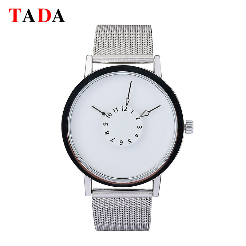 Tada Brand Mens Fashion Quartz Digital Simple Dial 30m Waterproof Women Watches Stainless Steel Mesh Luxury Watch Gift relogios