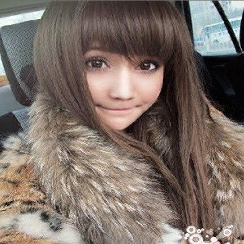 Wig non-mainstream high temperature wire women's long straight hair fluffy qi bangs