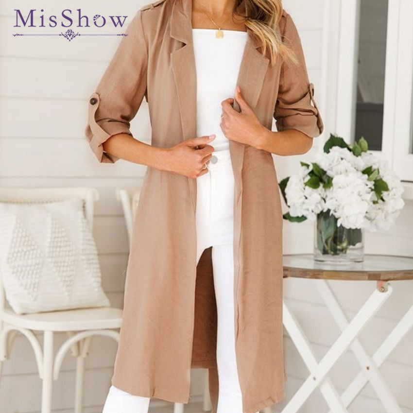 Misshow Women Pocket Blends 2019 Winter Long Sleeve Feminine Coat Autumn Women Casual Outwear Solid Loose Ladies Coat