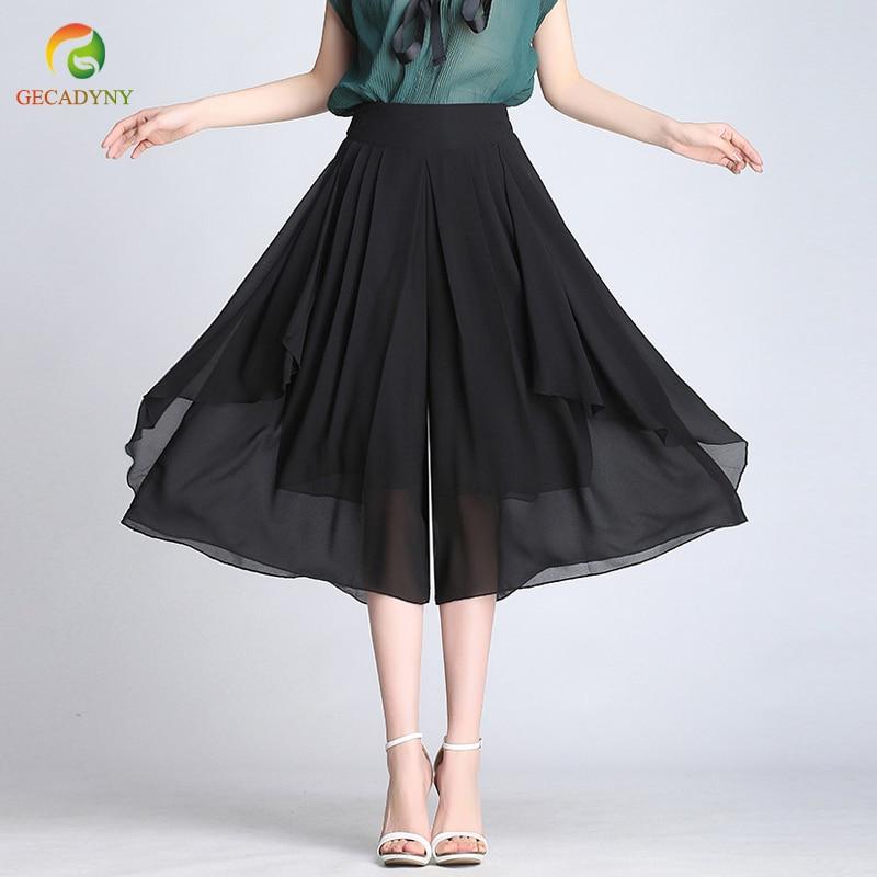 Summer Chiffon   Wide     Leg     Pants   Women 2018 New High Waist Loose Casual Skirts   Pants   Black Blue Camel Plus Size   Pants   Female Capris