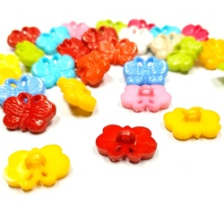HL 50/100pcs 17mmx12mm Mixed Color Shank Butterfly Plastic Buttons Children's Apparel Sewing Accessories DIY Scrapbooking